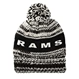 NFL Los Angeles Rams Moto Marled Pompster Beanie, One Size, Black/White