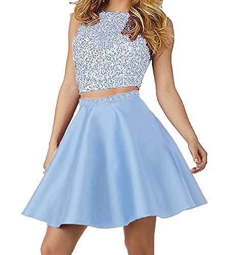 Little Star Sky Blue Satin Homecoming Dresses Two Piece 2017 Short For Juniors Senior High School Prom Dresses With Pockets Ball Gown, 8