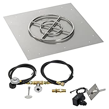 Image of American Fireglass SS-SFPKIT-P-30 Propane 30' Square Stainless Steel Flat Pan with Spark Ignition Kit (18' Ring) Fire Starters