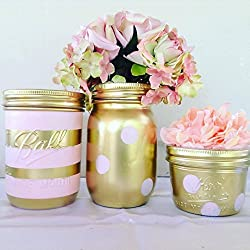 Set of 3 Gold and Blush Pink Mason Jars Centerpieces, Blush Pink and Gold Decorations, Pink and Gold Wedding, Light Pink and Gold Bridal Shower, Striped Mason Jar