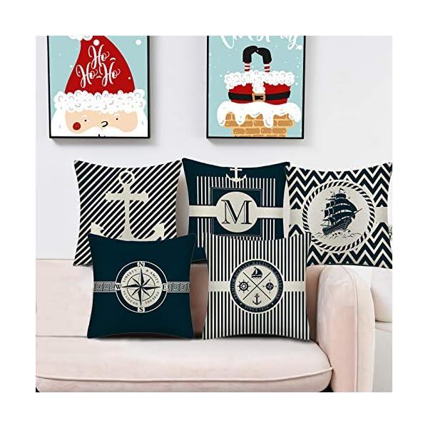 51g8HPG6TyL WMWZ Bunt Ozean-Serie Segelboot Anchor Design Kissen Leinen Baumwolle Überwurf Case Soft Bettwäsche Kissenbezug Für Sofa…