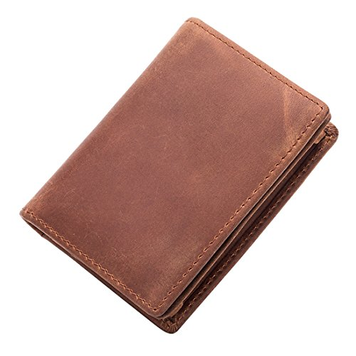 RFID Blocking Credit Card Holder Wallet Leather Business Card Case with ID Card Window Zip Coin Pocket