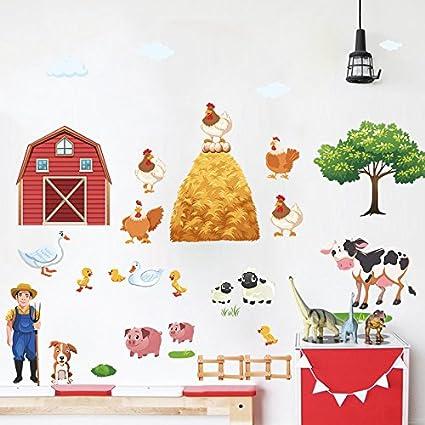 Amazoncom Amaonm Set Of 2 Cartoon Diy Farm Landscape Wall Decals