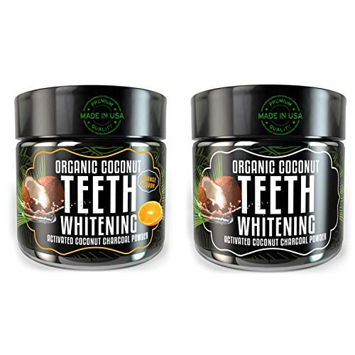 Activated Charcoal Teeth Whitening Powder - Odissey Life - Coconut Oil - Organic Coconut Charcoal Powder - Sparkling White Teeth - Best Nano Technology Teeth Whitening - 2 Pack Orange + Mint ()
