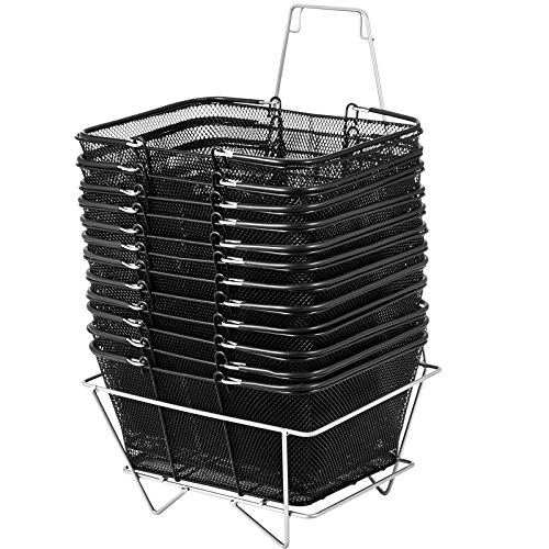 Mophorn Shopping Basket 12PCS Black Wire Basket Metal Shopping Baskets with Handles Black Wire Mesh for Retail Store (Handles Small With Baskets Metal)
