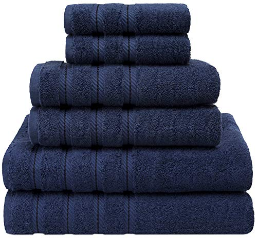 Premium, Luxury Hotel & Spa Quality, 6 Piece Kitchen and Bathroom Turkish Towel Set, Cotton for Maximum Softness and Absorbency by American Soft Linen, [Worth $72.95] (Navy Blue)