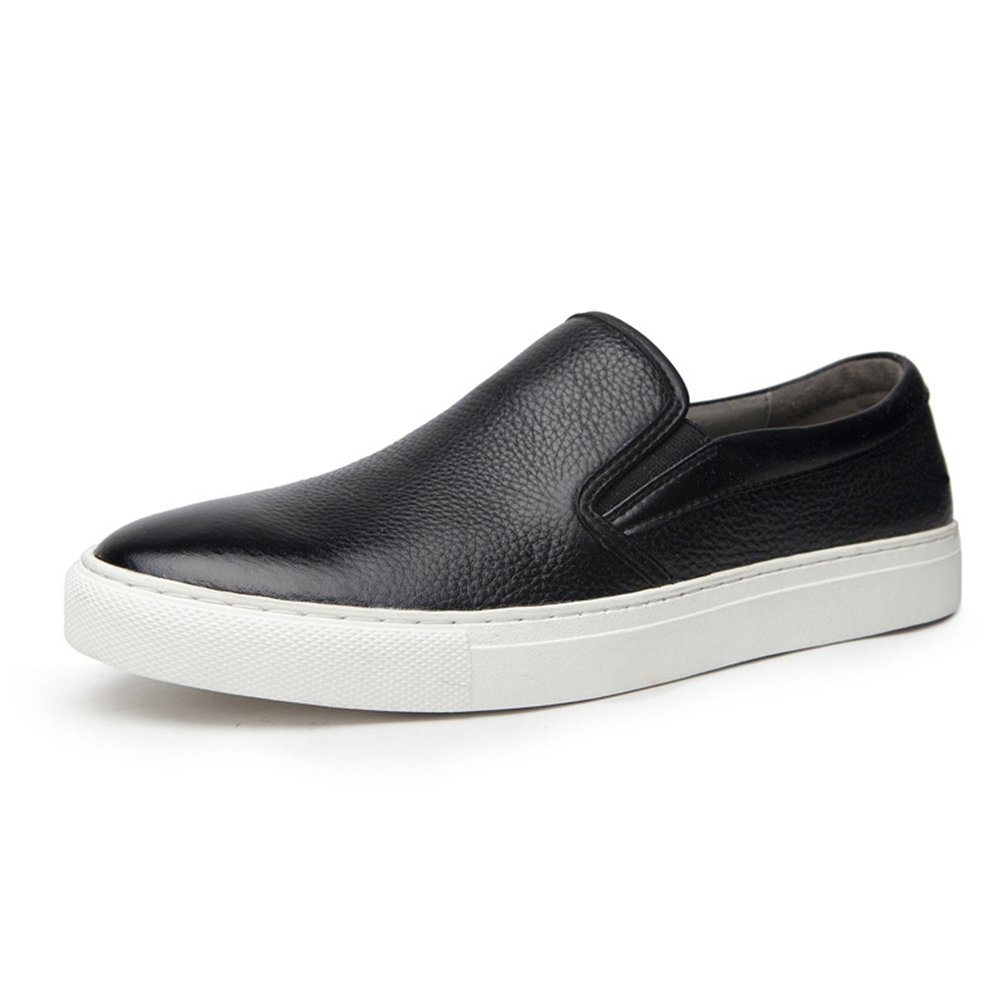 Carrefour Schuhe für Männer Leder Platte Schuhe in der Freizeit Low Bequem Schwarz