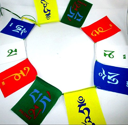 HiJet Buddhist Mini Handmade Paper Prayer flags with OM MA NI PADME HUM promote peace, compassion, strength, and wisdom From Nepal Set of 10 Flags Decorative Prayer Good Karma Flag Meditation Flags