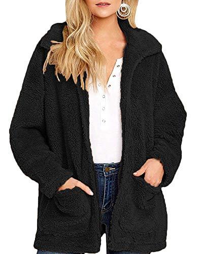 Yanekop Womens Coat Casual Lapel Fleece Fuzzy Sherpa Warm Winter Oversized Outwear Jackets(Black,XL)