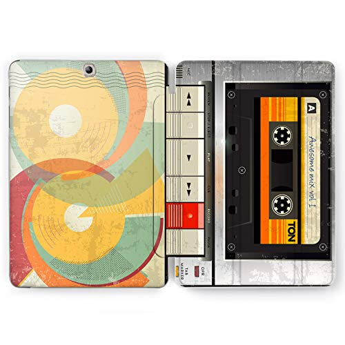 Wonder Wild Tape Recorder Samsung Galaxy Tab S4 S2 S3 A E Smart Stand Case 2015 2016 2017 2018 Tablet Cover 8 9.6 9.7 10 10.1 10.5 Inch Clear Play Stop Pause Awesome Mix Retro Vintage 80s 90s
