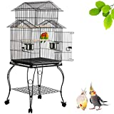 Yaheetech 55' Rolling Standing Triple Roof Top Medium Bird Cage for Mid-Sized Parrot Cockatiel Sun Parakeet Green Cheek Conure Caique Pet Bird Cage with Detachable Stand