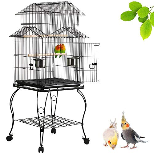 "Yaheetech 55"" Rolling Standing Triple Roof Top Medium Bird Cage for Mid-Sized Parrot Cockatiel Sun Parakeet Green Cheek Conure Caique Pet Bird Cage with Detachable Stand"