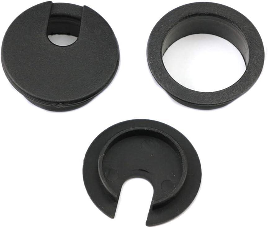 Homyl 20pi/èces Passe cable passe Fil Bross/é Design en Plastique diam/ètre 44mm Noir
