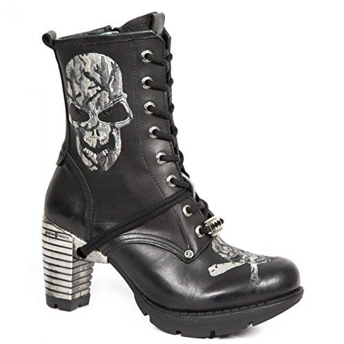 Nouvelles Bottes Rock M.tr079-s4 Gothiques Damen Punk Hardrock Stiefelette Schwarz