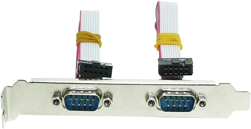 Morza Duales de 2 Puertos Serie de 9 Pines Soporte de la Ranura RS232 Placa Base Com Cable de extensi/ón de la Cinta DB9