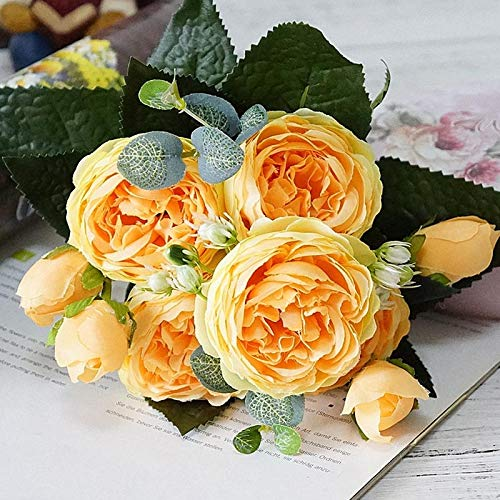 (CoronationSun - Leaf Rose - 2019 Beautiful Rose Peony Artificial Silk Flowers Small Bouquet Flores Home Party Spring Wedding Decoration Fake Flower)