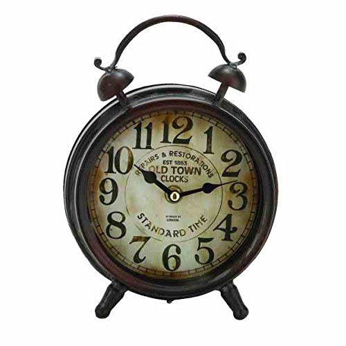 Black Table Clock Old Town SHABBY Antique Cottage Decor