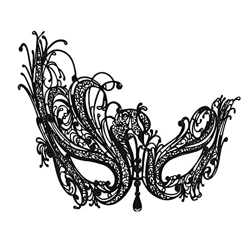 Masquerade Mask (WINK KANGAROO Women's Laser Cut Metal Venetian Pretty Masquerade Masks (Phoenix Style, Black))