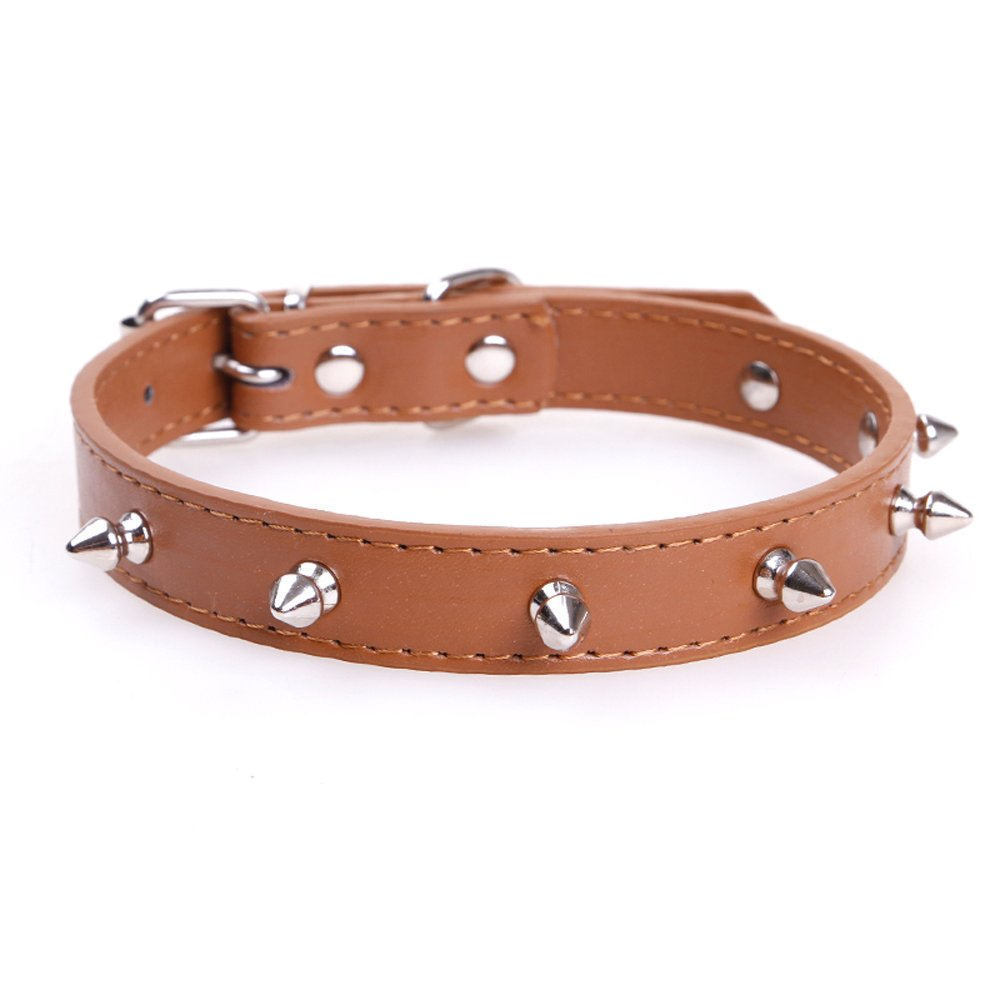 Brown 15 inch 16 inch 17 inch 18 inch brown 15 inch 16 inch 17 inch 18 inch Spiked Dog Collar Studded Pet Collar for Dogs(Brown)