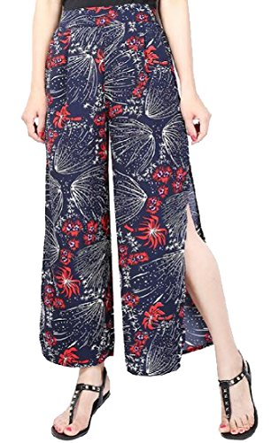(Abetteric Women Printed Ankle Length Palazzo Pants Straight Trousers 3)