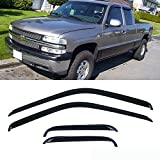 VioletLisa 4pcs Dark Smoke Outside Mount Style Sun Rain Guard Vent Shade Window Visors Fit 88-00 Chevrolet/GMC C1500/C2500/C3500/K1500/K2500/K3500 Extended Cab Pickup With Half Size Rear Doors Only