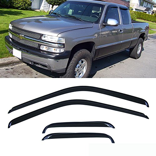 VIOJI 4pcs Dark Smoke Outside Mount Style Sun Rain Guard Vent Shade Window Visors Fit 88-00 Chevrolet/GMC C1500/C2500/C3500/K1500/K2500/K3500 Extended Cab Pickup With Half Size Rear Doors Only