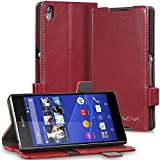 Sony Xperia Z3+ Wallet Case - VENA [vFolio] Slim Vintage Genuine Leather Wallet Stand Case with Card Slots for Sony Xperia Z3+ (Red / Black)