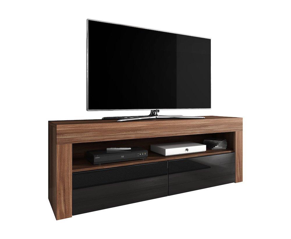 Meuble Tv Armoire Bas Divertissement Luna 140 Cm Corps Prunier  # Meuble Tv Segur
