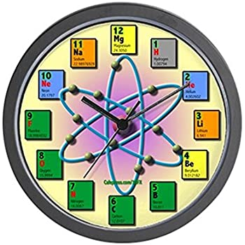 Amazon cafepress periodic table clock large 17 round wall cafepress periodic table atomic based unique decorative 10 wall clock urtaz