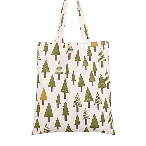 Caixia Women's Cotton Christmas Tree Print Canvas Tote Shopping Bag Beige