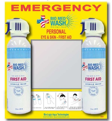 Bio Med Wash - Personal Eye Wash Station - Includes 2-7oz Cans with Mirror Bio-Logic Aqua