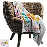 Davishouse Diane Decorative Throw Blanket Festive Arrangement of Letters Baby Girl Name with Geometric Shapes Circles Rhombuses Home, Couch, Outdoor, Travel Use 60' Wx60 L