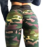Meilidress Womens Ruched Butt Lifting Leggings High Waisted Workout Sport Tummy Control Gym Yoga Pants (Large, 1-Army Green)