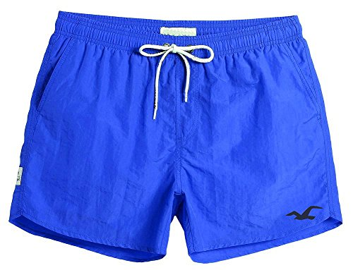 Men's Swim Trunks Quick Dry Water Beach Cargo Water Shorts with Mesh Lining (1 Blue, X-Large (34