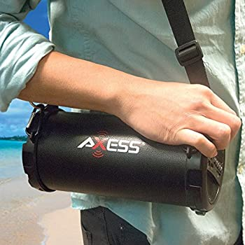 "Axess Spbt1031 Portable Bluetooth Indooroutdoor 2.1 Hi-fi Cylinder Loud Speaker With Built-in 3"" Sub & Sd Card, Usb, Aux Inputs In Black 1"