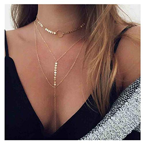 Sequin Gold Necklace - Yfe Gold Layered Necklace Choker Tassel Pendant Necklaces for Women and Girls Sequin Y Necklace (Round Gold)