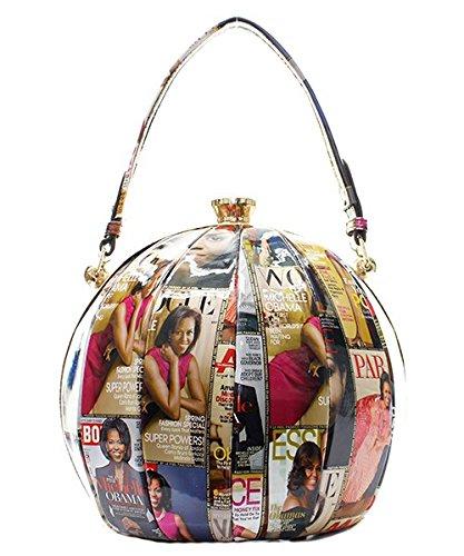 Michelle Obama Fashion Ball Magazine Print Handbag- Multi Color ()