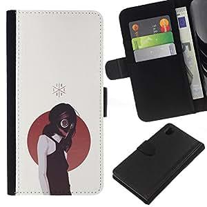 NEECELL GIFT forCITY // Billetera de cuero Caso Cubierta de protección Carcasa / Leather Wallet Case for Sony Xperia Z1 L39 // Gasmask Emo Chica