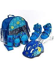 SMJ 2-in-1 inlineskates voor kinderen, verstelbare inlineskates, beschermingsset en helm en tas
