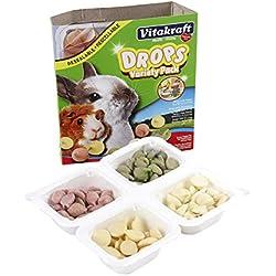 Vitakraft Drops Variety 4 Pack (Yogurt, Banana Strawberry, Alfalfa) Treat For Small Animals, 5.0 Ounce Resealable Tray