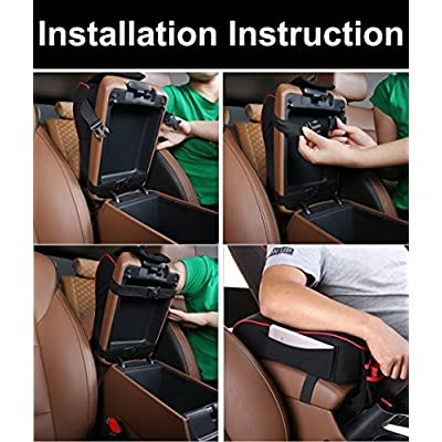 MLOVESIE Auto Center Console Armrest Pillow, Memory Foam Car Armrest Cushion with Phone Holder Storage Bag Universal Fit for Most Car (Red & Black): Automotive