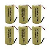 GEILIENERGY Sub C 2200mAh NiCd Rechargeable Battery for Power Toolswith 10C Discharge Rate (w/Tabs)(Pack of 6)