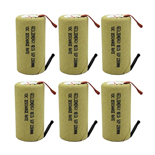 GEILIENERGY Sub C 2200mAh NiCd Rechargeable Battery for Power Toolswith 10C Discharge Rate (w/Tabs)(Pack of 6) by GEILIENERGY