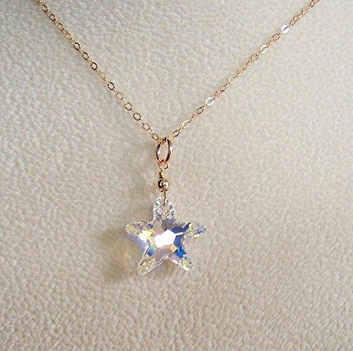 Swarovski Crystal Starfish Necklace (Aurora Borealis Starfish Swarovski Elements Crystal Pendant Necklace Gold Filled 18 Inch)
