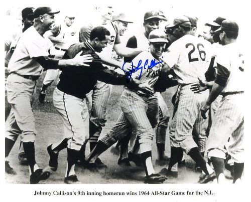 Johnny Callison (Phillies - D. 2006) Autographed/ Original Signed 8x10 Action-photo Showing Celebration After His 9th Inning Homerun to Win the 1964 All-Star Game for the National - Photo Hit Home Run