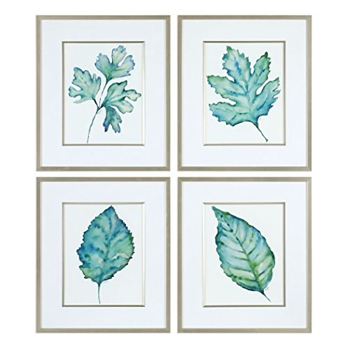 Uttermost Glass Print (Uttermost 33675 Spring Leaves Watercolor Reproduction Framed Prints - Set of 4)