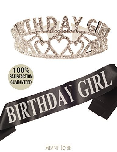 MEANT2TOBE Birthday Girl Sash and Tiara, Birthday Girl Sash and Crown, Happy Birthday Party Supplies, Favors, Decorations 13th, 16th, 21st, 30th, 40th, 50th, 60th, 70th, 80th, 90th Birthday (Silver)]()