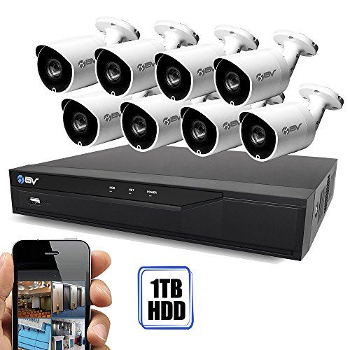 Best Vision 16CH 4-in-1 HD DVR Security Camera System (1TB HDD), 8pcs 1.3 MP High Definition Outdoor Cameras with Night Vision – DIY Kit, App for Smartphone Remote Monitoring