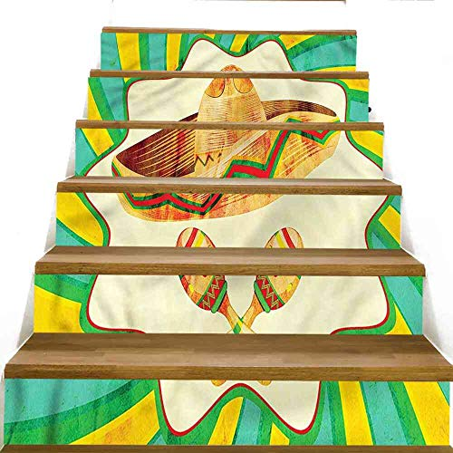 JiuYIBB Stairs Stickers Mexican,Starburst Lines Maracas Stair Decal Set, Size:W 39