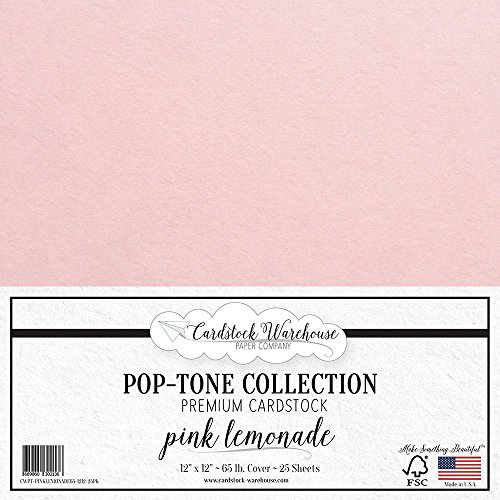 PINK LEMONADE Cardstock Paper - 12 x 12 inch 65 lb. Premium Cover - 25 Sheets from Cardstock Warehouse by Cardstock Warehouse